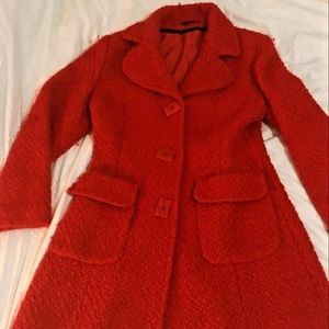Red long button up coat